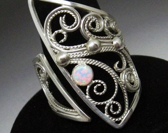 Edgy Asymmetrical Filigree Opal Sterling Silver Cocktail Ring size 8  to size 9 OOAK