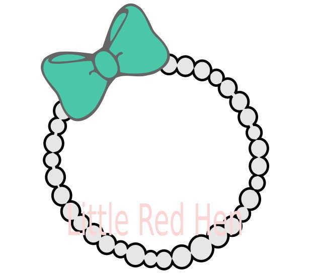 pearl necklace with bow monogram frame svg from littleredhensewing on etsy studio