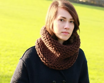 Chunky Cowl Scarf, Snood, Neck Warmer, Hand Knit Chunky Cowl Neck, Winter Fashion, Winter Accessories, Brown