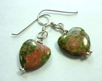 Heart Earrings Unakite Earrings Olive Green and Pink Unakite Hearts Earrings in Sterling Silver