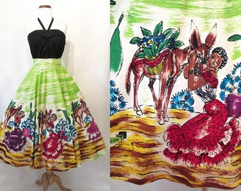Adorable 1950's Hand Painted Mexican Circle With Cute Donkey Vintage Western Cowgirl Mexi Skirt Rockabilly VLV Pinup Skirt Size-Medium