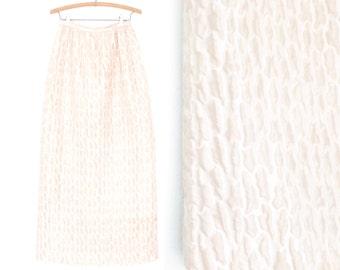 60s Maxi Skirt * Vintage 1960s Skirt * Long White Skirt * Small