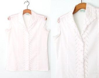White Eyelet Blouse * Vintage Lace Blouse * 80s Sleeveless Shirt * Large