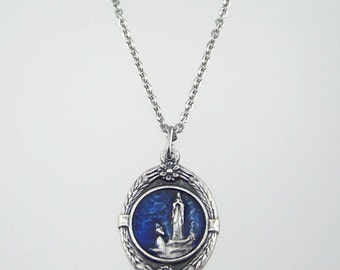 Our Lady of Lourdes Medal Necklace with Blue Accent
