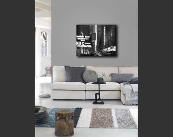 Black and White New York Photography on Canvas, Radio City and NBC Rainbow Room, Large Wall Art Canvas