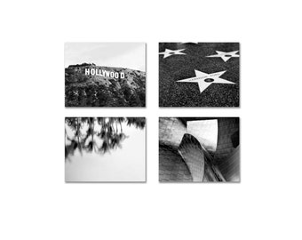 SALE, California Prints, 4 Photo Set, Los Angeles Photography Set- Hollywood Sign & Stars - Black and White Photos