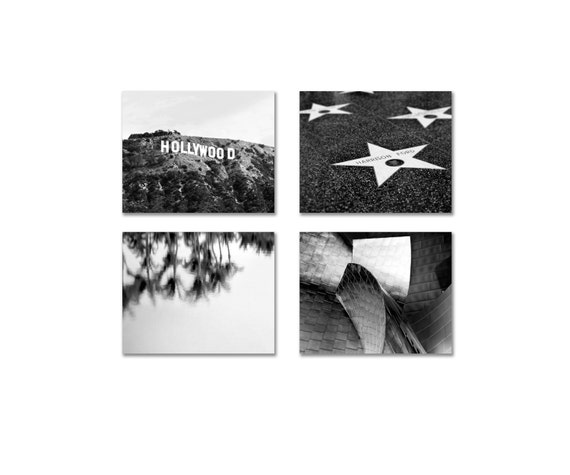 California Prints, 4 Photo Set, Los Angeles Photography Set- Hollywood Sign & Stars - Black and White Photos