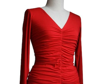 Pleated blouse, Long sleeve top, Red Top, V-neck top, Plus size top, Womens clothing, Plus Size Clothing, Custom Top, Made to order