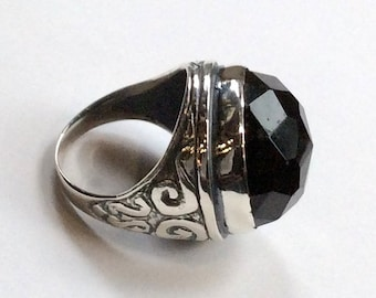 Statement ring, Round silver Ring, sterling silver ring, large stone ring, Onyx ring, oxidized silver ring - A dream on our way  R2197-1