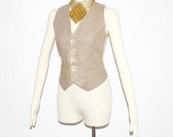 Vintage MOSCHINO Cheap & Chic PEACE Linen Mesh Vest - AUTHENTIC
