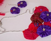 CLEARANCE SALE 50% off was 14.95 now 7.50 Purple - Red Necklace Earring Set, Handmade Red Hat Jewelry Gift for Her