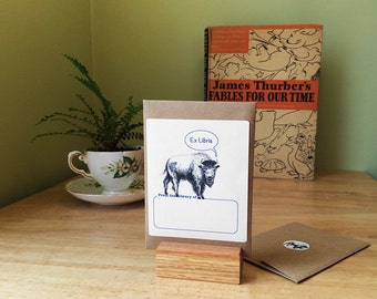 """Buffalo book plates. 17 book plate stickers plus envelope. Custom printing option. The Bison says """"Ex Libris."""" What would you have it say?"""