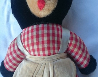 Vintage Black Teddy Bear Soft Toy Animal 1950's