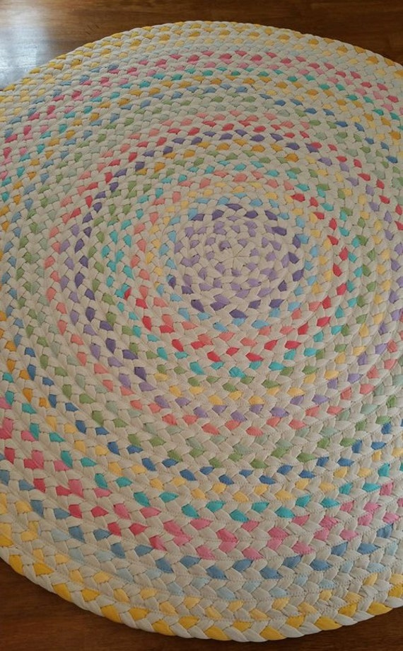 Captivating Pastel And Natural Braided Rug Using Pistachio, Lavender, Yellow, And Pink,  Aqua, Blue