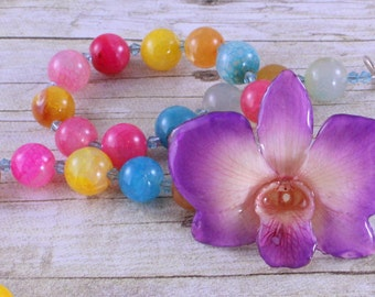 Flower Pendant Necklace - Rainbow Necklace- Gift for her - Real Orchid Necklace - Chunky Statement Necklace - Flower Jewelry