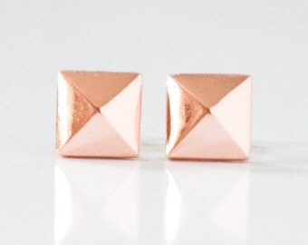 Rose Gold Pyramid Stud Earrings - Faceted Pink Gold Studs - Blush Pink Pyramids - Pastel Stud Earings - Hook and Matter - Made in Brooklyn