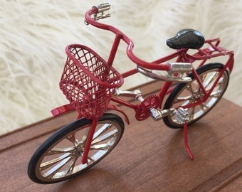 Miniature Red Bicycle, Dollhouse Miniature, 1:12 Scale, Detailed Bike With Basket, Metal, Topper, Gift, Dollhouse Accessory