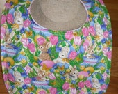 "Bib - Easter - Bunnies - Absorbent - Reversible -  11"" x 14"" - Snap Closure"