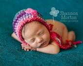 "Ready to Ship, Crochet Baby Girl ""Love Me"" Heart Bonnet, Newborn hat, Handmade, Photo Prop, Photography Prop, Shower Gift, Valentines"