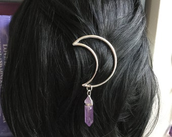 Silver or Gold Moon Crystal hair clip, crescent hair barrette with gemstone dangle