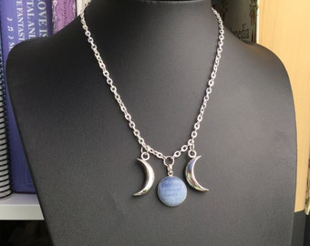Blue Kyanite Triple Goddess Moon necklace, sterling silver pendant, wiccan jewelry