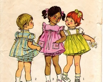 1970s Toddler Girls Dress with Ruffle Bloomers - Vintage Pattern Simplicity 5435 - Size 1 cut & Size 3 UNCUT FF