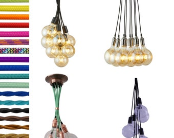 9 Pendant Light Cluster - Any Length - Any Cord Colors - Ceiling Fixture - Modern Fixture - Industrial Fixture - Vintage Fixture - Lighting