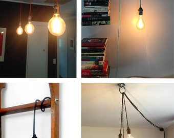 Custom Pendant Light- Hanging Light - Vintage Edison Light - Modern Light - Hardwired or Swag Plug-In ceiling Light - Hanging Pendant
