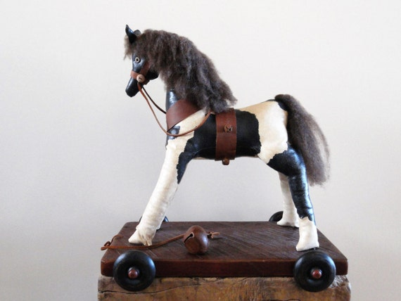 Folk Art Horse Pull Toy - Primitive Pony - Nursery/Kid's Decor - Vintage Style Toy Reproduction - Black and White - Rustic Country - PETE