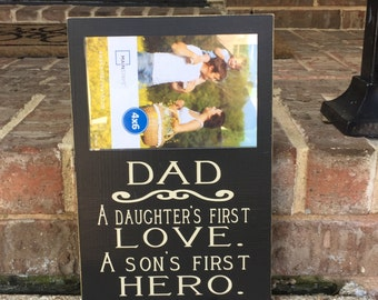 Father's Day Gift For Dad ~Dad Sign ~Personalized Dad Gift Wooden Sign ~Son's First Hero Custom Wood Sign ~Father Gift ~Daddy Gift ~