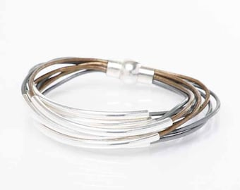 Bronze & Gray Leather Cuff Bracelet with Silver or Gold Tube Beads - Multi Strand Bangle Women's Bracelet w/Magnetic Clasp