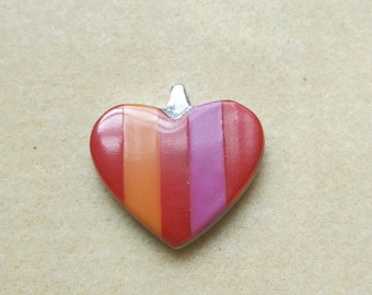 Striped Heart Pendant - Red, Orange and Pink - 30mm - Silver Back and Bail