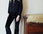 Hells Bells - Black velvet bell bottom wide leg leggings - crushed or solid