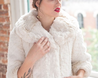 The Audrey Hepburn - Ivory Faux Fur Swing Coat