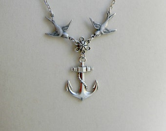 Silver Sparrow And Anchor Necklace, Flower, Bird, Anchors Away, Nautical Jewelry, Sailor, Deep Sea, Ocean Theme Jewelry, Rope, Navy