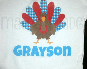Boy's Red and Turquoise Turkey Shirt or Bodysuit Everyone is thankful for me Turkey Shirt Boy's Thanksgiving Shirt Gobble Shirt Turkey