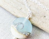 Beach Wave Necklace, Sea Glass Lampwork Pendant, Ocean Jewelry, Beach Jewelry, Gift for Her, Beach Wedding, Gifts, Pale Aqua
