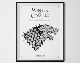 Winter is coming Game of Thrones House Stark Direwolf House Stark banner Flag Jon Snow King of the North Sansa Arya Stark Wall Art Decor