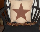 "UNSTUFFED Primitive Pillow COVER Brown Star Country Home Decor Decorator 14 1/2"" Cushion Decoration Buy 2 and Make a Set Rustic wvluckygirl"