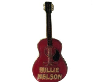 WILLIE NELSON GUITAR vintage enamel pin badge country music