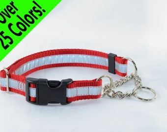 Reflective Quick-Release CHAIN Martingale Dog Collar - many colors - any size