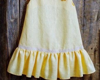 Linen Ruffle Dress, Flower Girl, Rustic Wedding, Yellow Linen, Round Neck, Country Dress, Handmade