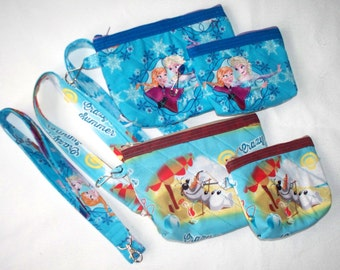Disney Frozen Quilted Cosmetic Bag,Coin Purse,or Lanyard.  Your Choice of Queen Elsa, Princess Anna or Crazy For Summer Olaf