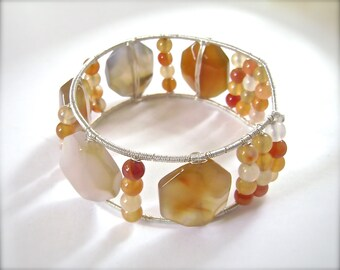 Agate Bangle Bracelet, Chunky, Red Agate Bracelet, Silver Wire Wrapped, Mixed Agates, Handmade, 952