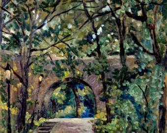 Shady Path near the Cloisters, Fort Tryon Park, NYC. Oil Painting Landscape, Original 11x9 Plein Air Impressionist Signed Original Fine Art
