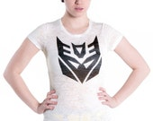 Transformers Decepticon insignia tee by MITMUNK - women's white burnout crew neck t-shirt