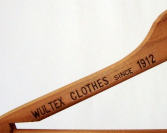 Wood Hanger Wultex Clothes Troy NY Factory Store Since 1912 Coat Hanger
