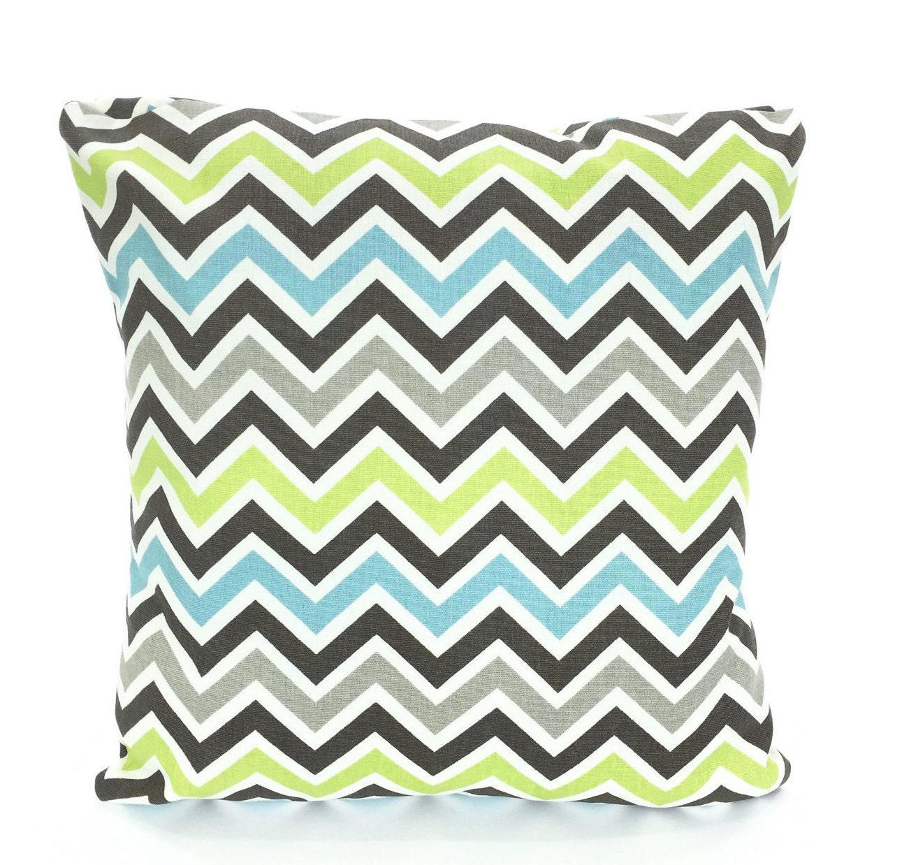 Blue Gray Green Chevron Pillows Throw Pillow Cushion Covers