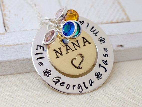 Nana Necklace, Grandma Necklace, Grandmothers Necklace, Personalized Necklace for Grandma, Gift for Nana, Grandma Family Brithstone Necklace