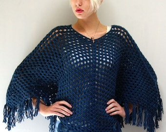 Crocheted Poncho // Dark Blue Fringe Cape // A NIGHT LIKE THIS